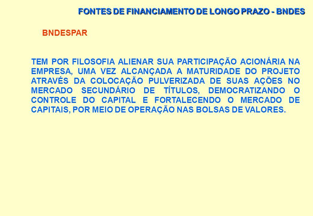 FONTES DE FINANCIAMENTO DE LONGO PRAZO - BNDES BNDESPAR FINALIDADE: APORTAR RECURSOS NÃO EXIGÍVEIS, SOB A FORMA DE PARTICIPAÇÃO SOCIETÁRIA TRANSITÓRIA
