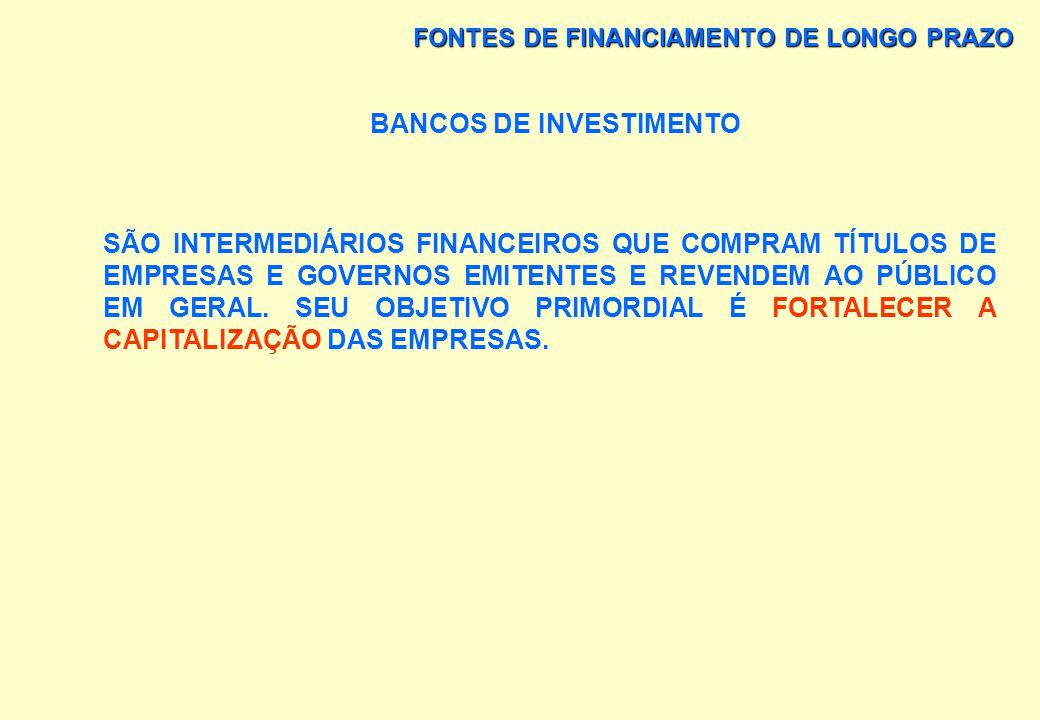 FONTES DE FINANCIAMENTO DE LONGO PRAZO – BANCOS COMERCIAIS A CAPTAÇÃO DE DEPÓSITOS À VISTA É CONTA CORRENTE LIVREMENTE MOVIMENTÁVEL É A ATIVIDADE BÁSI