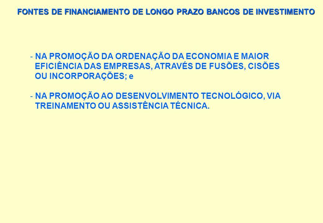 FONTES DE FINANCIAMENTO DE LONGO PRAZO BANCOS DE INVESTIMENTO APLICAM RECURSOS NO FORTALECIMENTO DO CAPITAL SOCIAL DAS EMPRESAS: - VIA SUBSCRIÇÃO OU A