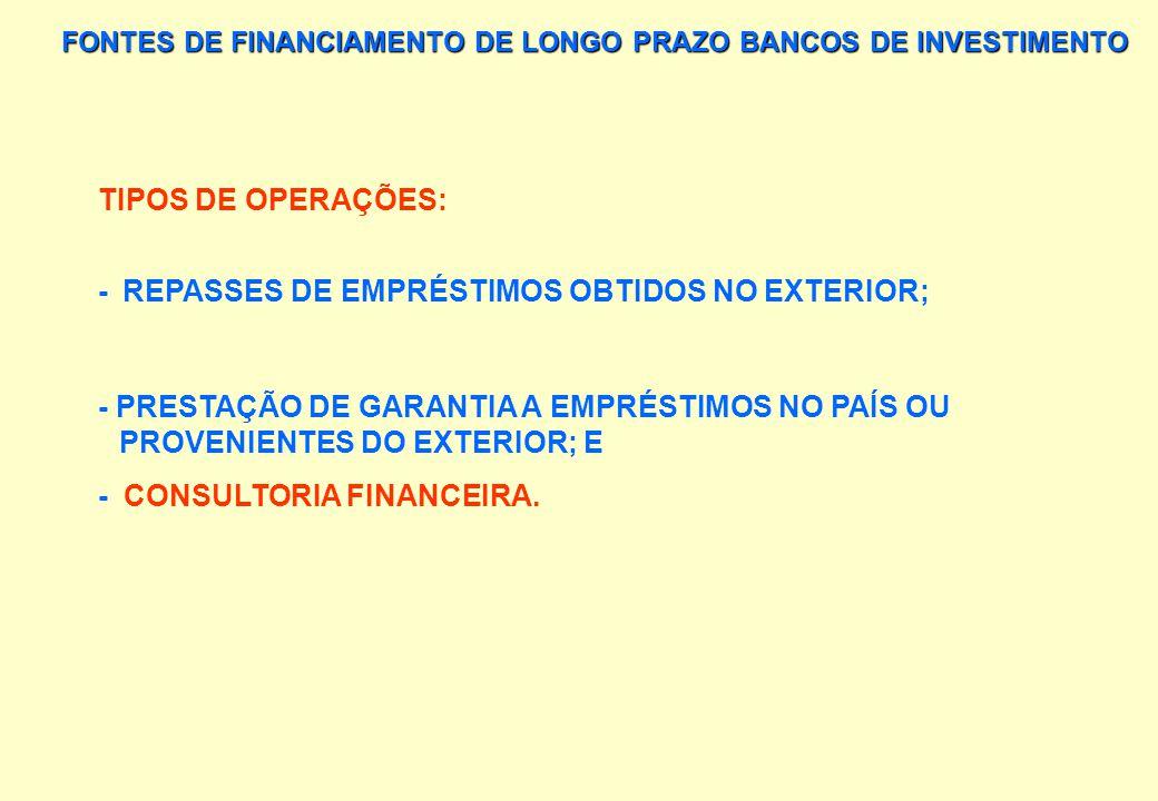 FONTES DE FINANCIAMENTO DE LONGO PRAZO BANCOS DE INVESTIMENTO TIPOS DE OPERAÇÕES: - EMPRÉSTIMOS, COM PRAZO MÍNIMO DE UM ANO, PARA FINANCIAMENTO DE CAP