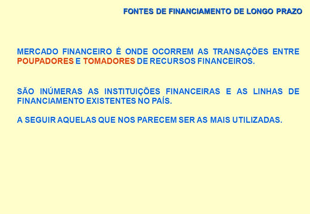 FONTES DE FINANCIAMENTO DE LONGO PRAZO MERCADO FINANCEIRO