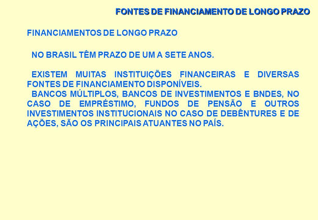 FONTES DE FINANCIAMENTO DE LONGO PRAZO FINANCIAMENTOS DE LONGO PRAZO AS PRINCIPAIS FORMAS DE FINANCIAMENTO DE LONGO PRAZO SÃO: 1) RECURSOS PRÓPRIOS GE