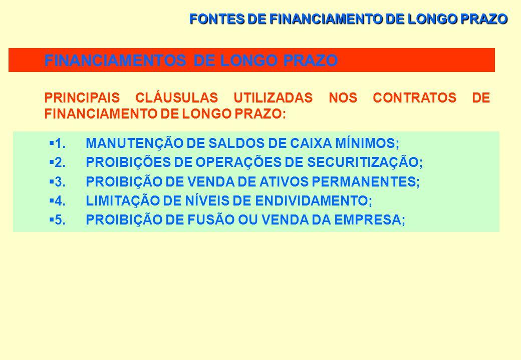 FONTES DE FINANCIAMENTO DE LONGO PRAZO CONTRATOS DE FINANCIAMENTOS DE LONGO PRAZO AS EXIGÊNCIAS SÃO ESPECIFICADAS EM CONTRATOS E ENVOLVEM CRITÉRIOS A