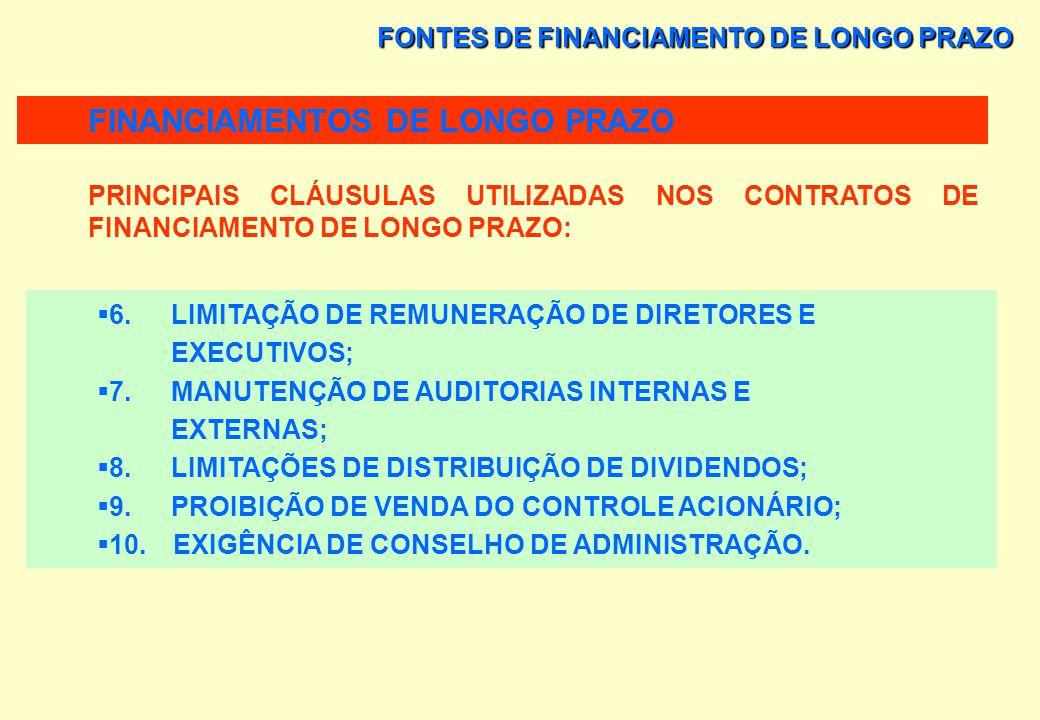FONTES DE FINANCIAMENTO DE LONGO PRAZO PRINCIPAIS CLÁUSULAS UTILIZADAS NOS CONTRATOS DE FINANCIAMENTO DE LONGO PRAZO: 1. MANUTENÇÃO DE SALDOS DE CAIXA