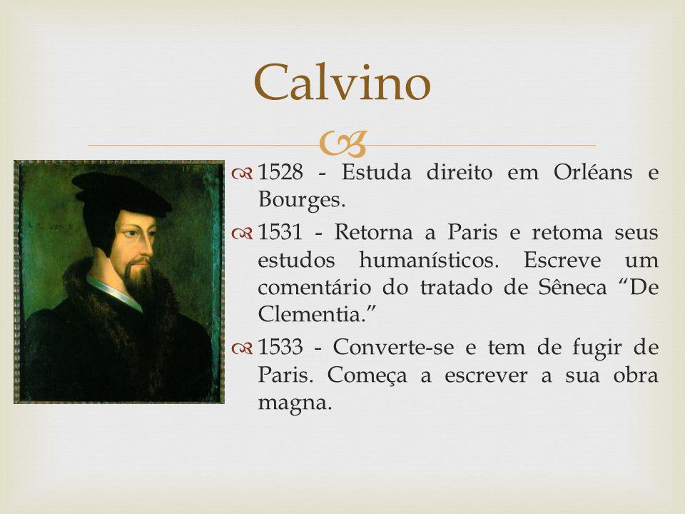 1528 - Estuda direito em Orléans e Bourges. 1531 - Retorna a Paris e retoma seus estudos humanísticos. Escreve um comentário do tratado de Sêneca De C