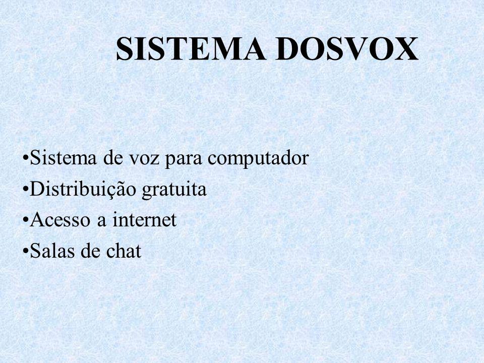 SISTEMA DOSVOX Sistema de voz para computador Distribuição gratuita Acesso a internet Salas de chat