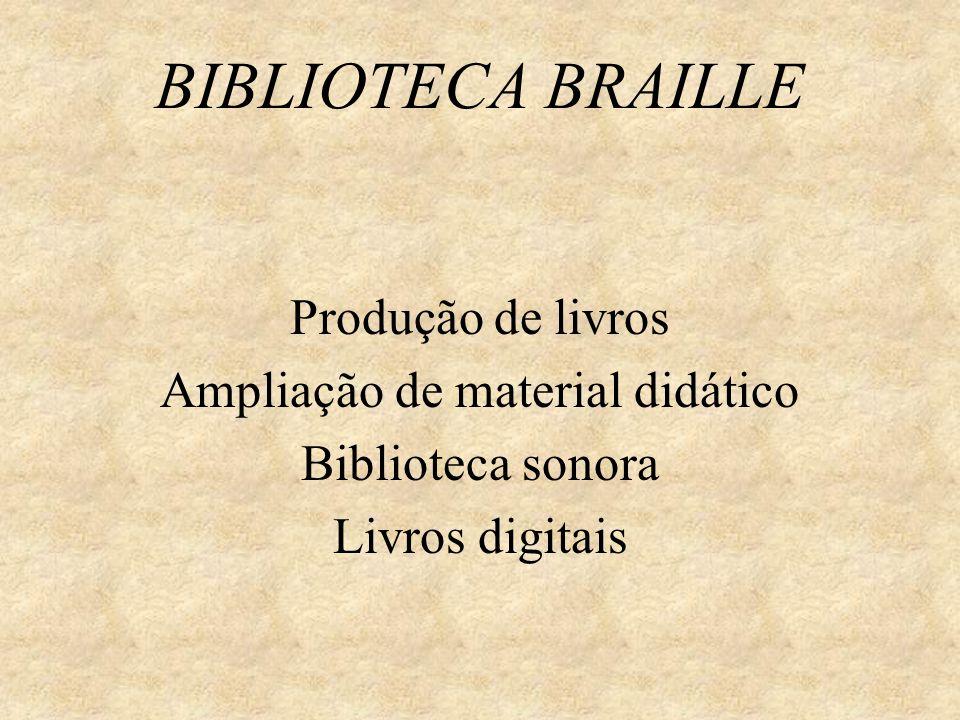 BIBLIOTECA BRAILLE Produção de livros Ampliação de material didático Biblioteca sonora Livros digitais