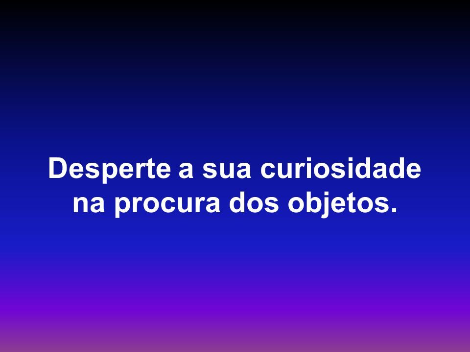 Desperte a sua curiosidade na procura dos objetos.