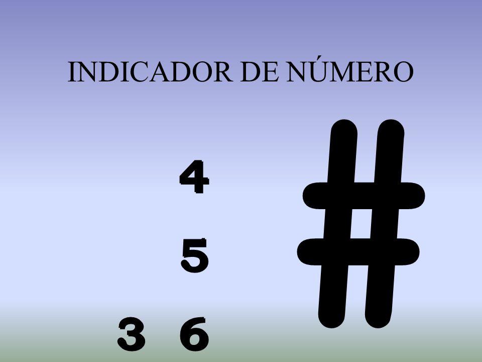INDICADOR DE NÚMERO # 4 5 3 6 4 5 3 6