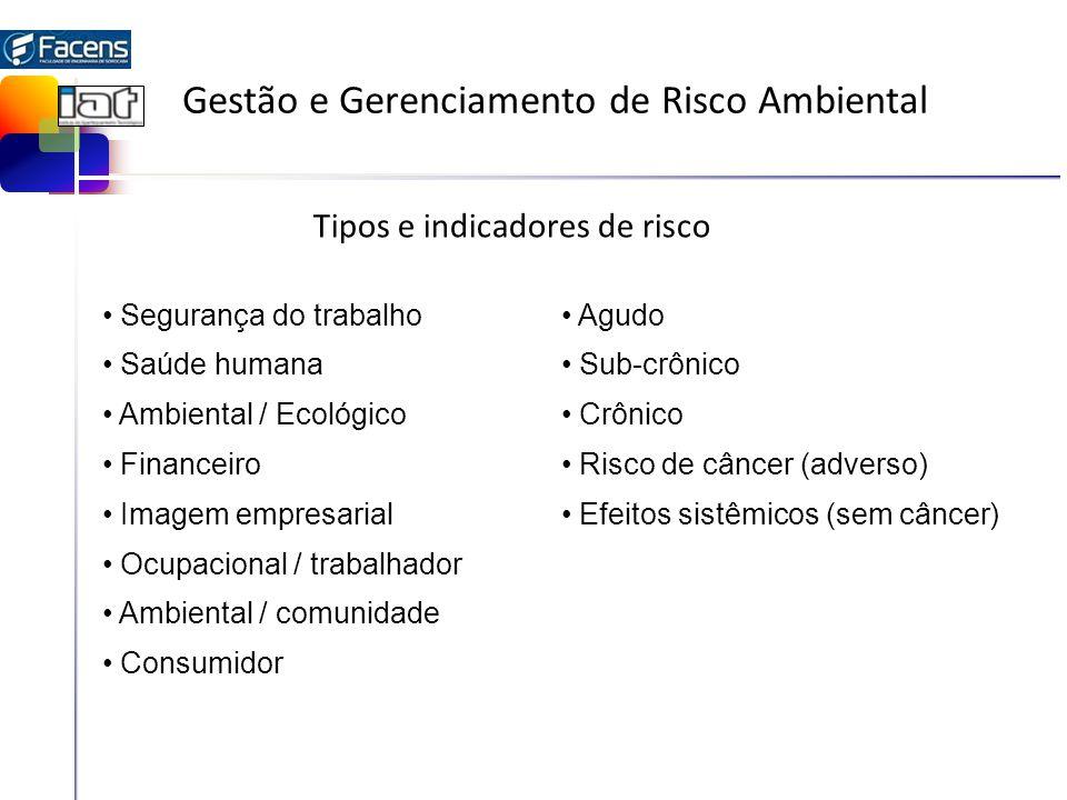 Gestão e Gerenciamento de Risco Ambiental Tipos e indicadores de risco Segurança do trabalho Saúde humana Ambiental / Ecológico Financeiro Imagem empr