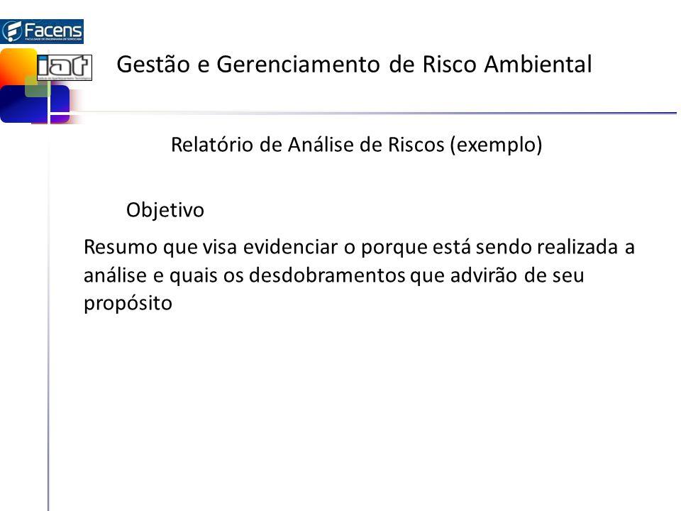 Gestão e Gerenciamento de Risco Ambiental Relatório de Análise de Riscos (exemplo) Objetivo Resumo que visa evidenciar o porque está sendo realizada a