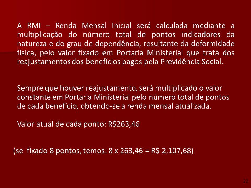 A RMI – Renda Mensal Inicial será calculada mediante a multiplicação do número total de pontos indicadores da natureza e do grau de dependência, resul