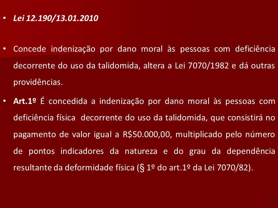 Lei 12.190/13.01.2010 Concede indenização por dano moral às pessoas com deficiência decorrente do uso da talidomida, altera a Lei 7070/1982 e dá outra