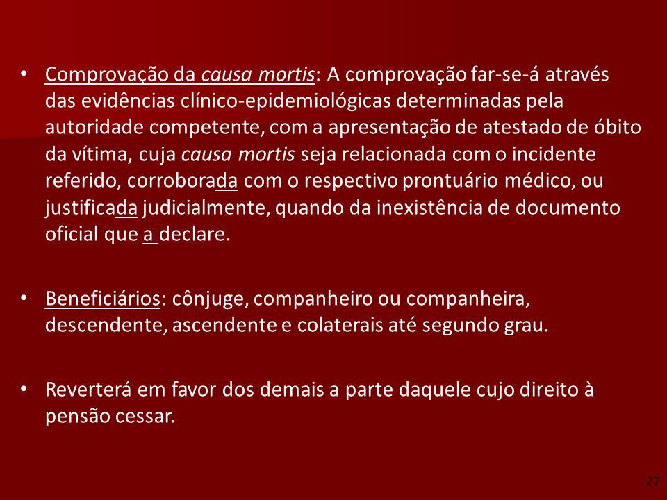 Comprovação da causa mortis: A comprovação far-se-á através das evidências clínico-epidemiológicas determinadas pela autoridade competente, com a apre