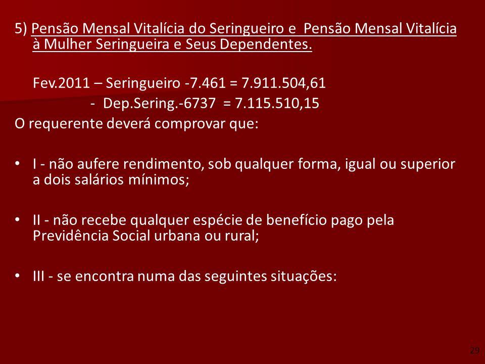 5) Pensão Mensal Vitalícia do Seringueiro e Pensão Mensal Vitalícia à Mulher Seringueira e Seus Dependentes. Fev.2011 – Seringueiro -7.461 = 7.911.504
