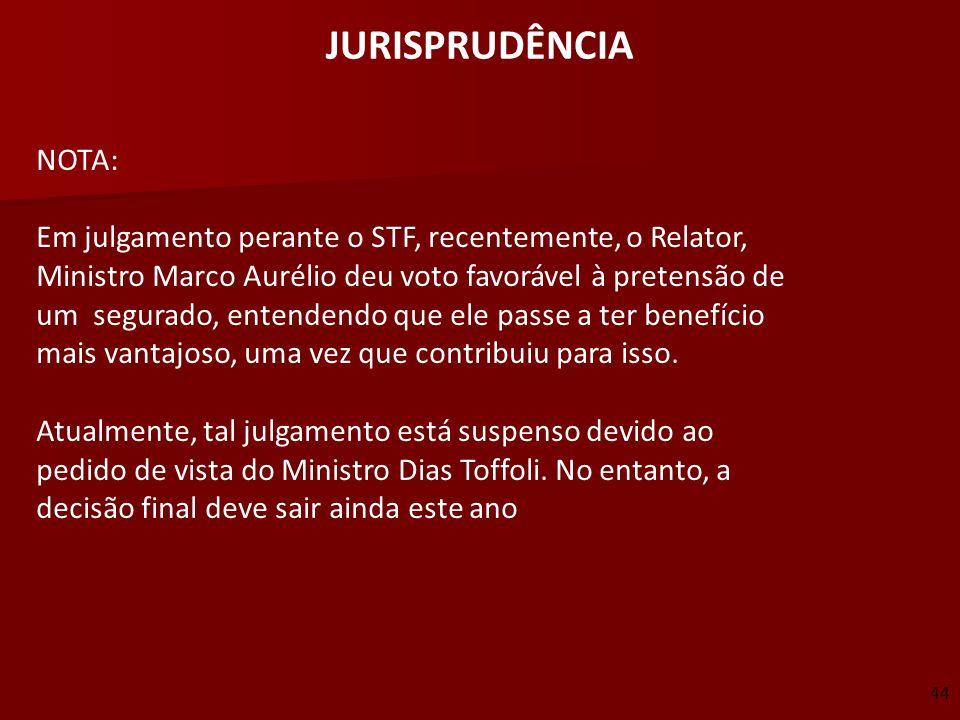 JURISPRUDÊNCIA NOTA: Em julgamento perante o STF, recentemente, o Relator, Ministro Marco Aurélio deu voto favorável à pretensão de um segurado, enten
