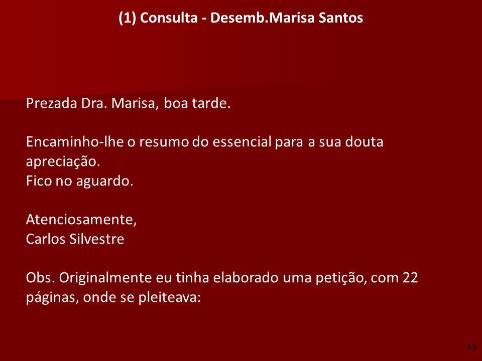 (1) Consulta - Desemb.Marisa Santos Prezada Dra. Marisa, boa tarde. Encaminho-lhe o resumo do essencial para a sua douta apreciação. Fico no aguardo.