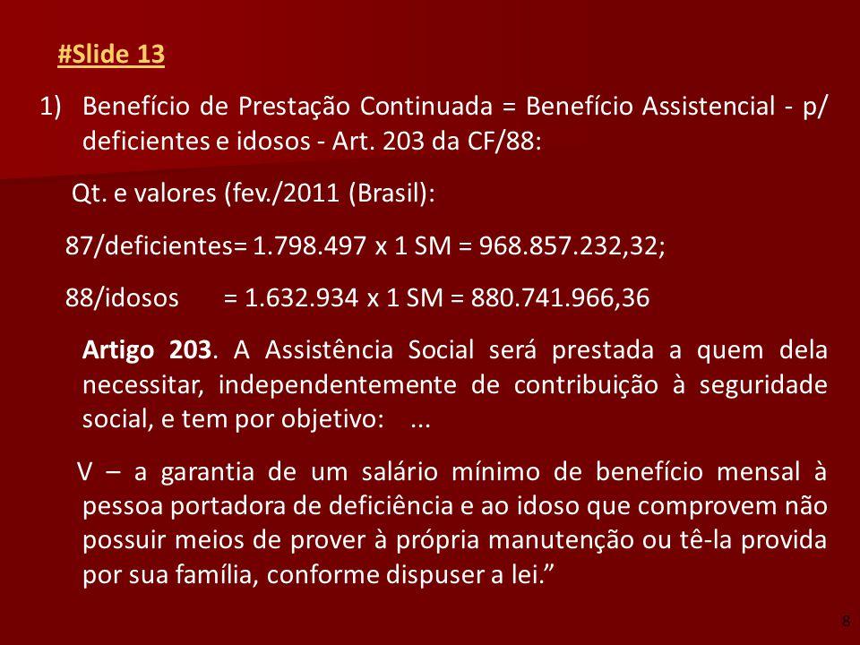 #Slide 13 1)Benefício de Prestação Continuada = Benefício Assistencial - p/ deficientes e idosos - Art. 203 da CF/88: Qt. e valores (fev./2011 (Brasil