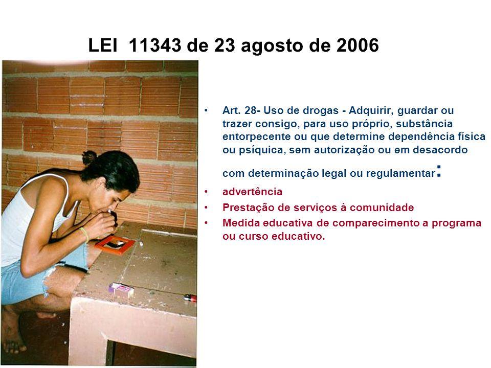 LEI 11343 de 23 agosto de 2006 Art. 28- Uso de drogas - Adquirir, guardar ou trazer consigo, para uso próprio, substância entorpecente ou que determin