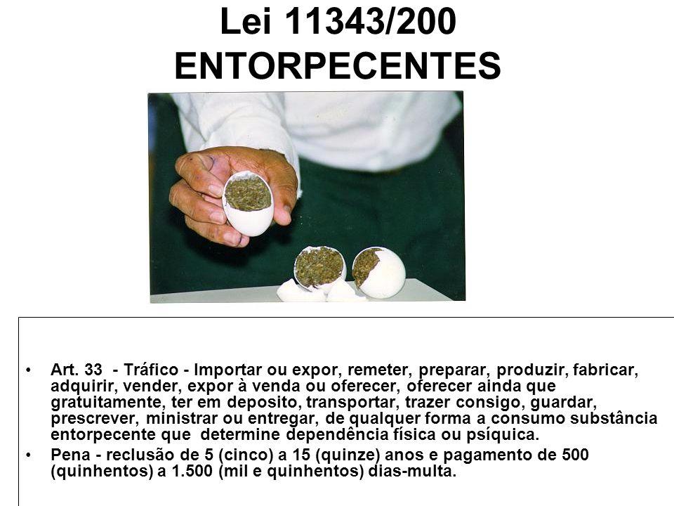 Lei 11343/200 ENTORPECENTES Art. 33 - Tráfico - Importar ou expor, remeter, preparar, produzir, fabricar, adquirir, vender, expor à venda ou oferecer,