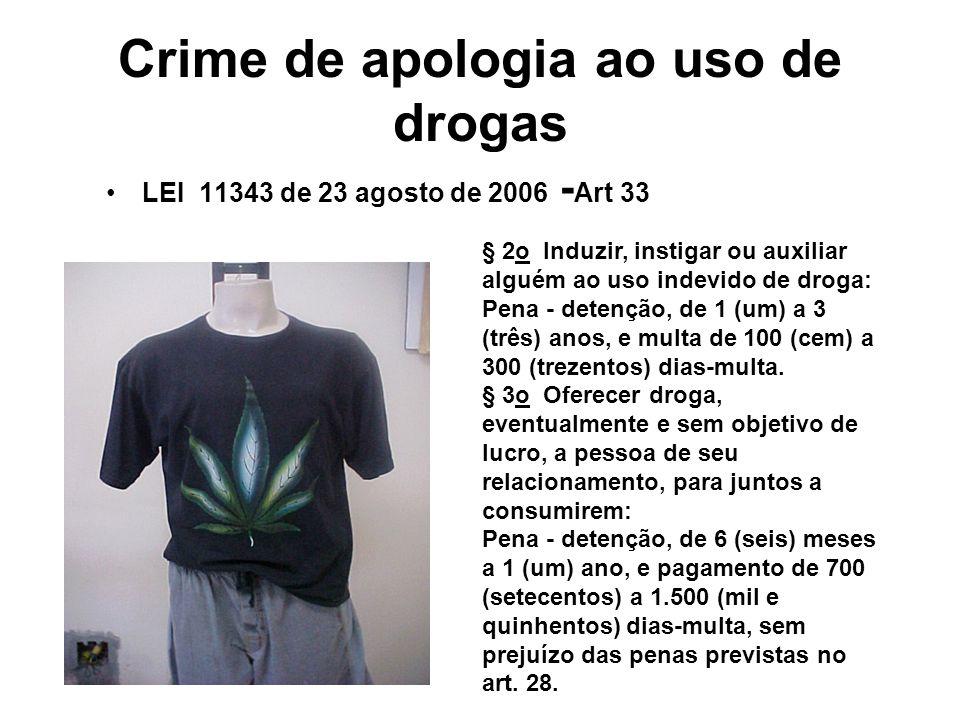 Crime de apologia ao uso de drogas LEI 11343 de 23 agosto de 2006 - Art 33 § 2o Induzir, instigar ou auxiliar alguém ao uso indevido de droga: Pena -