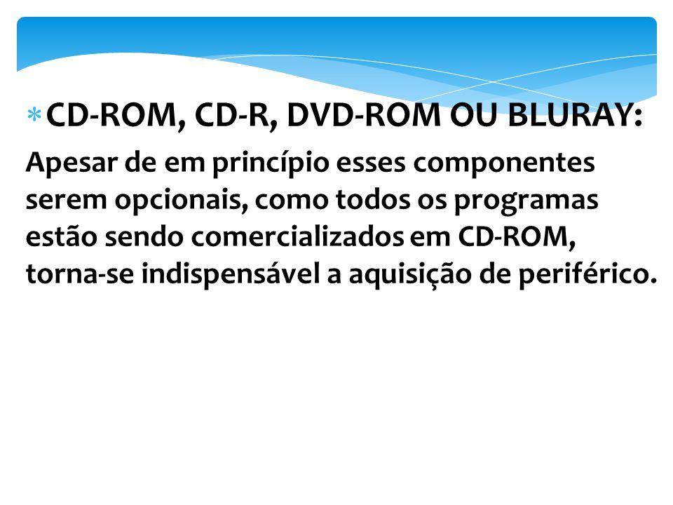 Apesar de em princípio esses componentes serem opcionais, como todos os programas estão sendo comercializados em CD-ROM, torna-se indispensável a aqui
