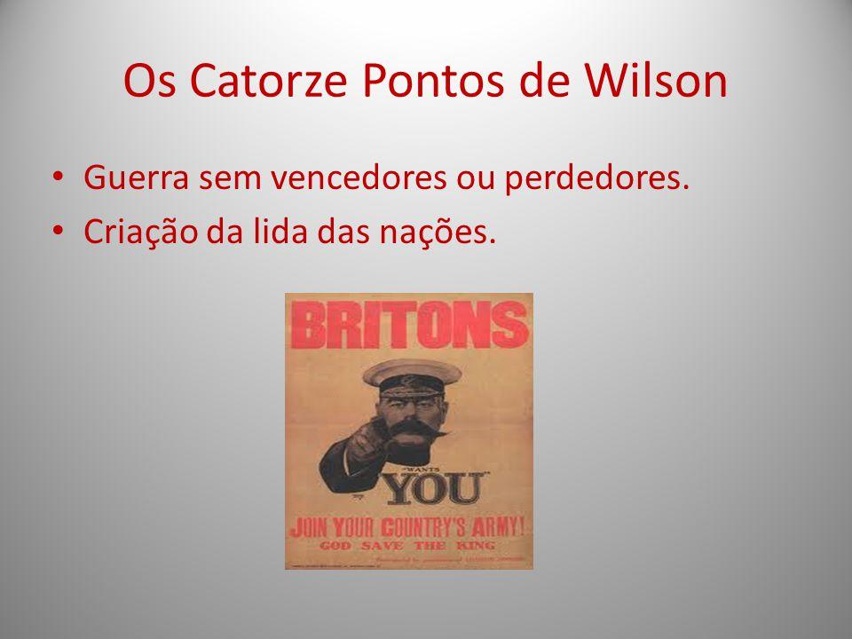 Os Catorze Pontos de Wilson Guerra sem vencedores ou perdedores. Criação da lida das nações.