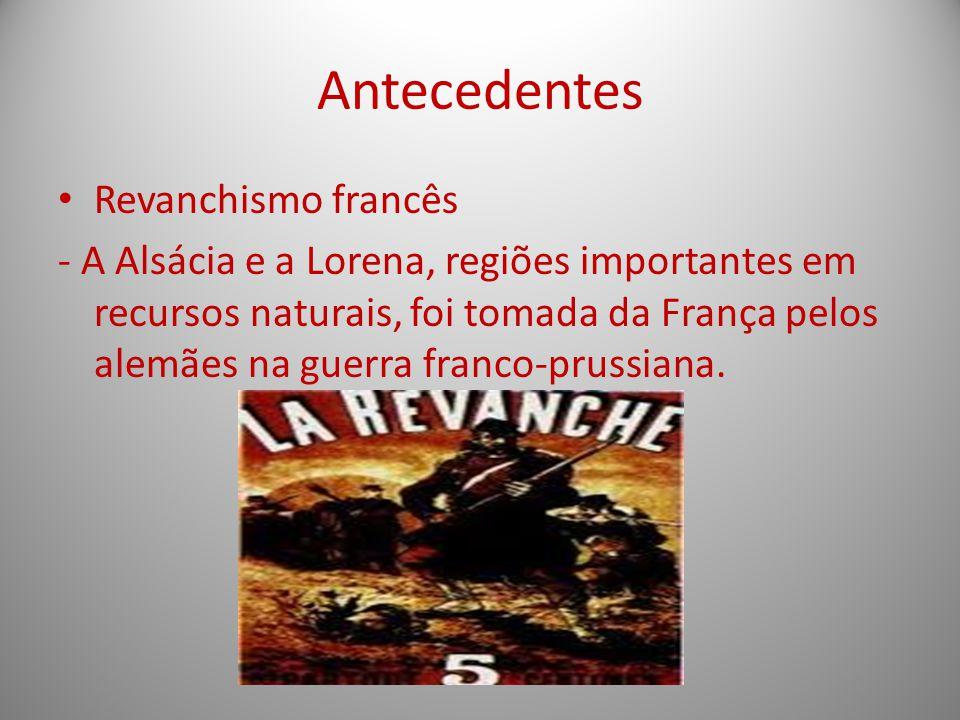 Antecedentes Revanchismo francês - A Alsácia e a Lorena, regiões importantes em recursos naturais, foi tomada da França pelos alemães na guerra franco