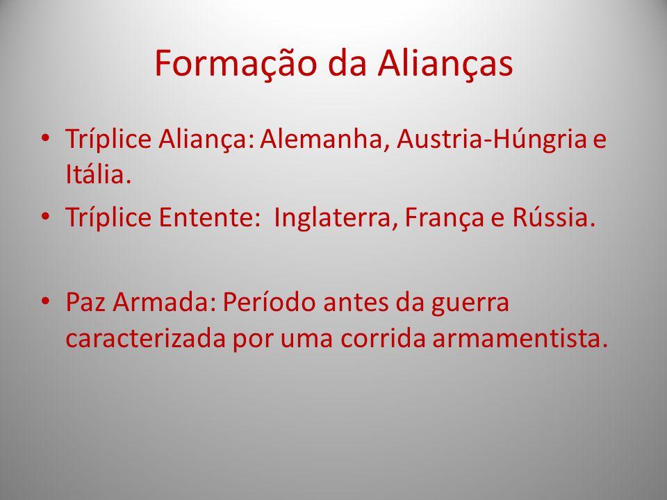 Formação da Alianças Tríplice Aliança: Alemanha, Austria-Húngria e Itália. Tríplice Entente: Inglaterra, França e Rússia. Paz Armada: Período antes da