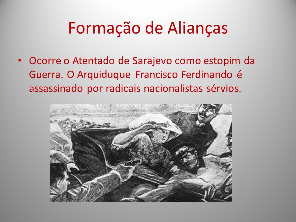 Formação de Alianças Ocorre o Atentado de Sarajevo como estopim da Guerra. O Arquiduque Francisco Ferdinando é assassinado por radicais nacionalistas