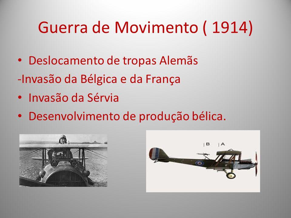 Guerra de Movimento ( 1914) Deslocamento de tropas Alemãs -Invasão da Bélgica e da França Invasão da Sérvia Desenvolvimento de produção bélica.