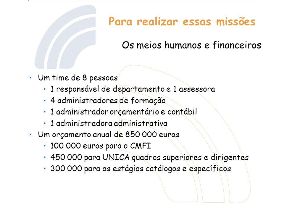 Para realizar essas missões Um time de 8 pessoas 1 responsável de departamento e 1 assessora 4 administradores de formação 1 administrador orçamentári