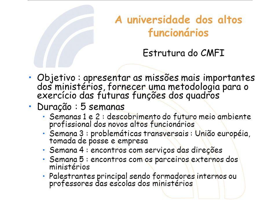 A universidade dos altos funcionários Objetivo : apresentar as missões mais importantes dos ministérios, fornecer uma metodologia para o exercício das