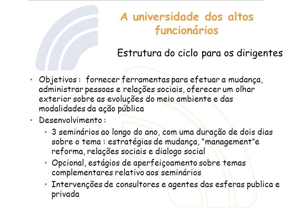 A universidade dos altos funcionários Objetivos : fornecer ferramentas para efetuar a mudança, administrar pessoas e relações sociais, oferecer um olh