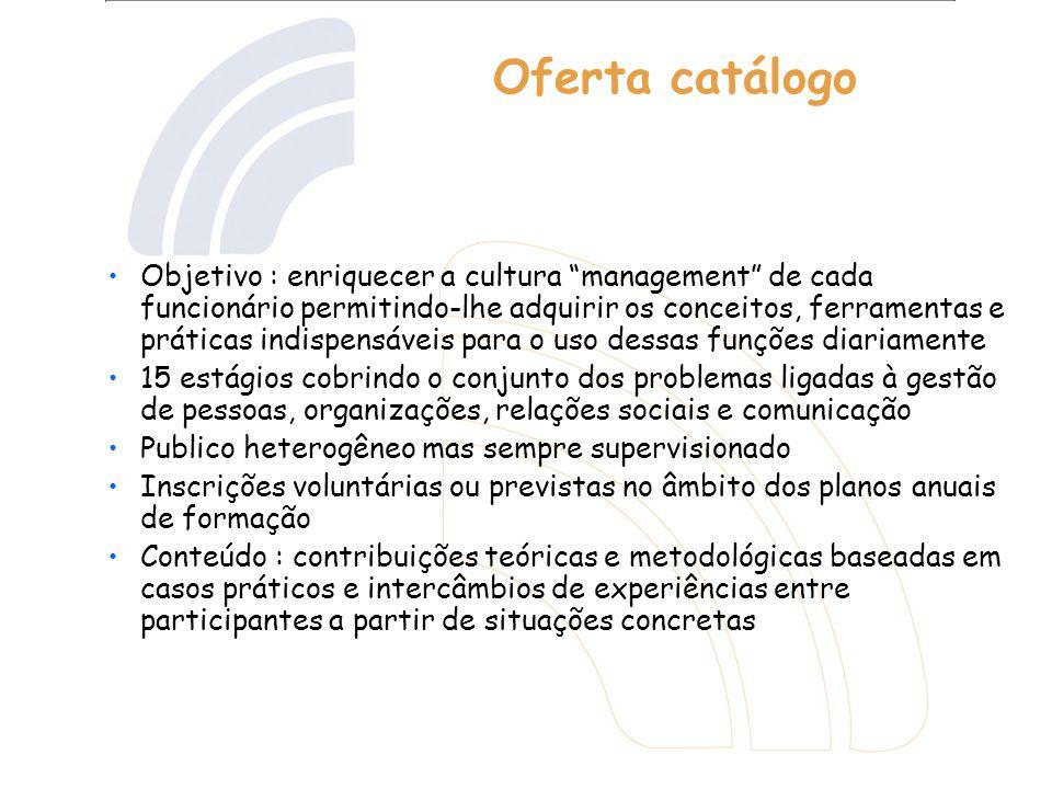 Oferta catálogo Objetivo : enriquecer a cultura management de cada funcionário permitindo-lhe adquirir os conceitos, ferramentas e práticas indispensá