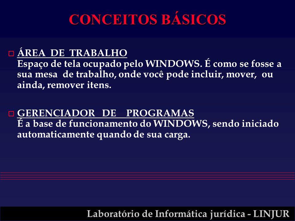 Laboratório de Informática jurídica - LINJUR CONCEITOS BÁSICOS o ÁREA DE TRABALHO Espaço de tela ocupado pelo WINDOWS. É como se fosse a sua mesa de t