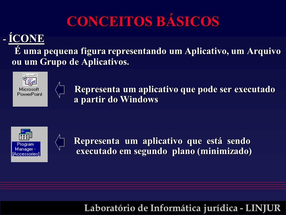 Laboratório de Informática jurídica - LINJUR CONCEITOS BÁSICOS - ÍCONE É uma pequena figura representando um Aplicativo, um Arquivo ou um Grupo de Apl