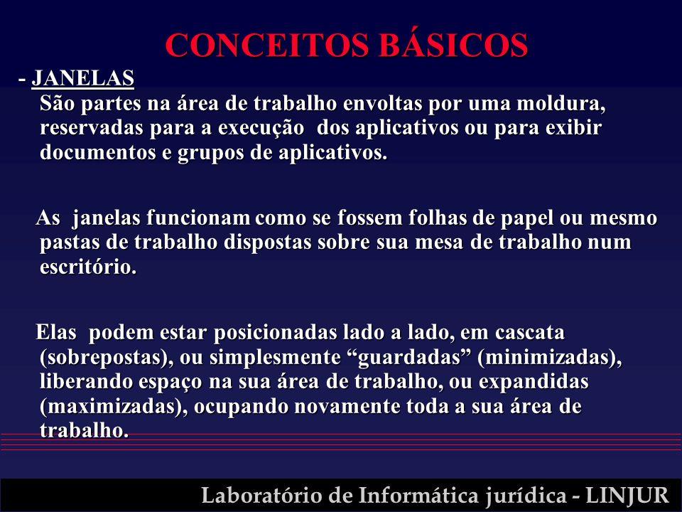 Laboratório de Informática jurídica - LINJUR CONCEITOS BÁSICOS - JANELAS São partes na área de trabalho envoltas por uma moldura, reservadas para a ex
