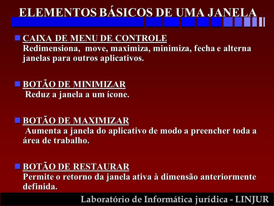 Laboratório de Informática jurídica - LINJUR nCAIXA DE MENU DE CONTROLE Redimensiona, move, maximiza, minimiza, fecha e alterna janelas para outros ap