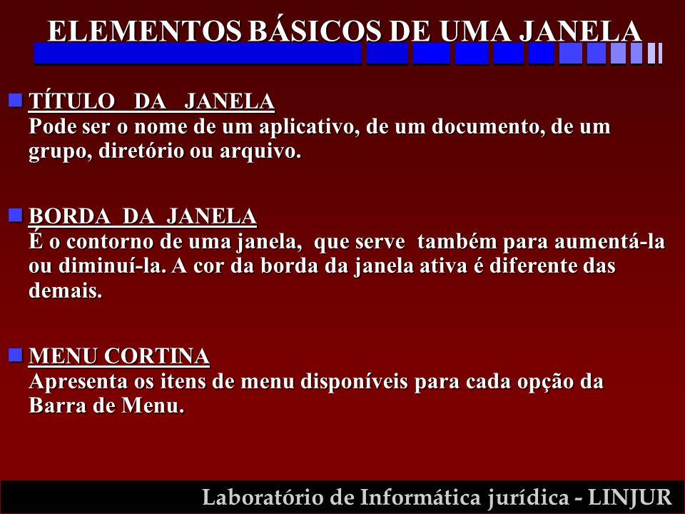 Laboratório de Informática jurídica - LINJUR nTÍTULO DA JANELA Pode ser o nome de um aplicativo, de um documento, de um grupo, diretório ou arquivo. n