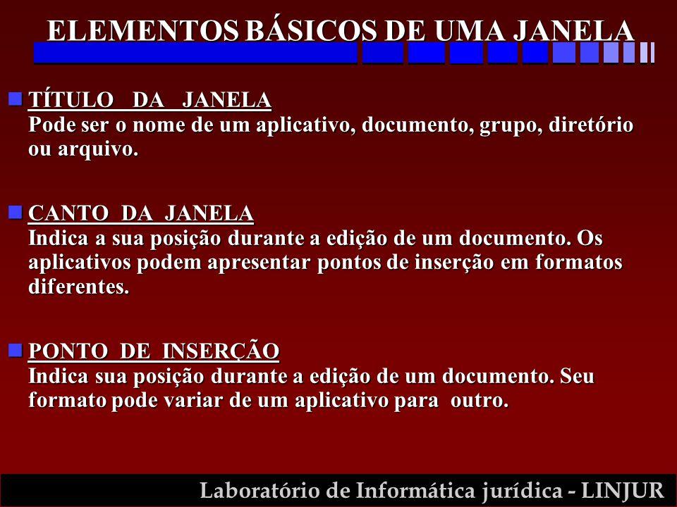 Laboratório de Informática jurídica - LINJUR nTÍTULO DA JANELA Pode ser o nome de um aplicativo, documento, grupo, diretório ou arquivo. nCANTO DA JAN