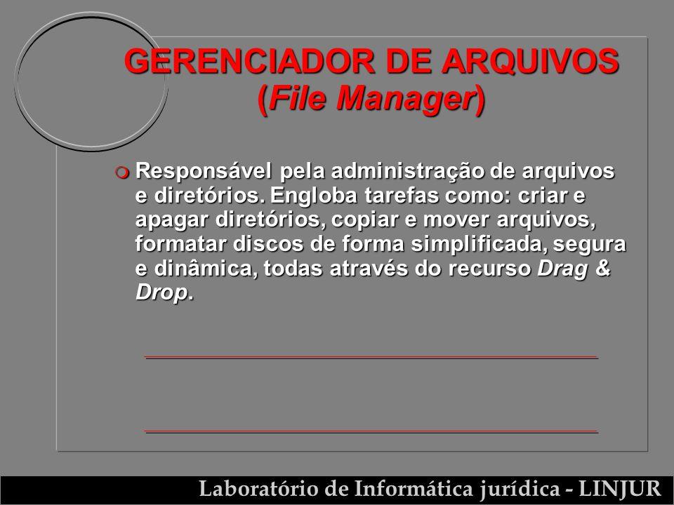 Laboratório de Informática jurídica - LINJUR GERENCIADOR DE ARQUIVOS (File Manager) m Responsável pela administração de arquivos e diretórios. Engloba