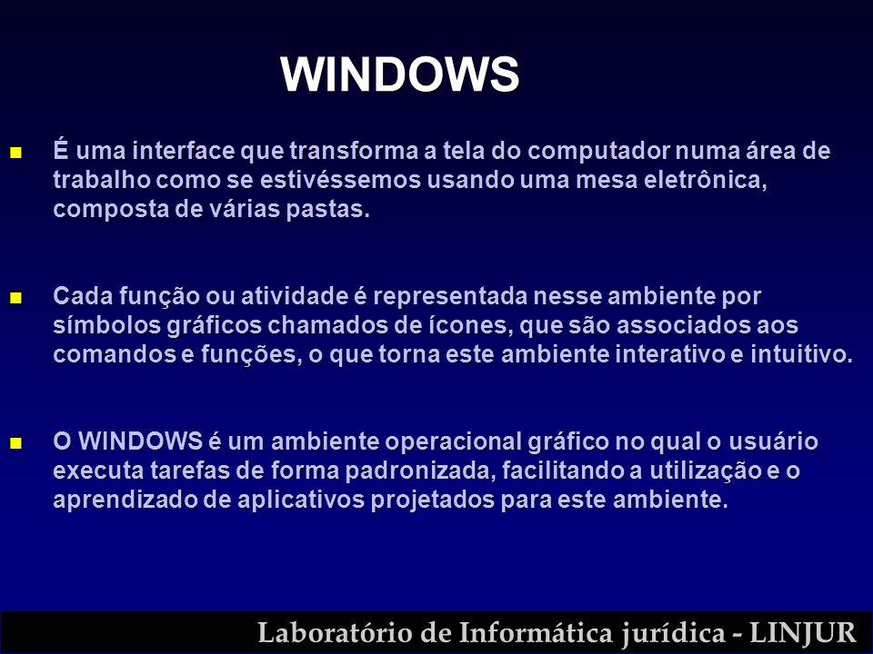 Laboratório de Informática jurídica - LINJUR n É uma interface que transforma a tela do computador numa área de trabalho como se estivéssemos usando u
