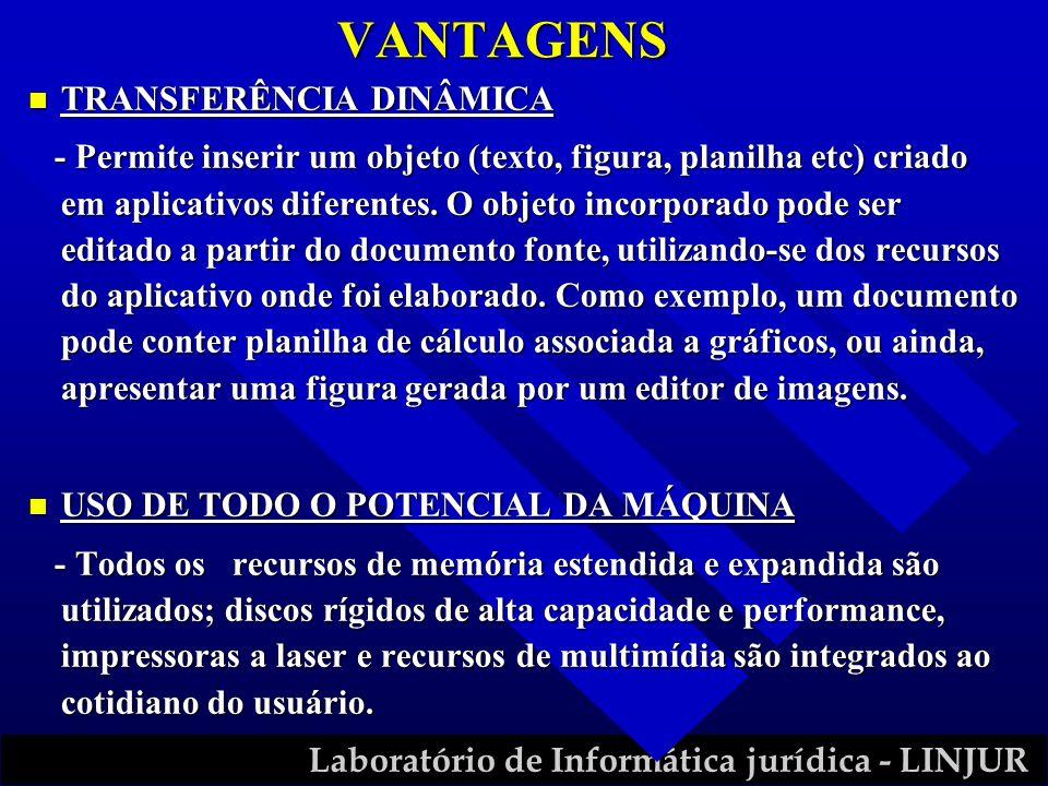 Laboratório de Informática jurídica - LINJUR VANTAGENS n TRANSFERÊNCIA DINÂMICA - Permite inserir um objeto (texto, figura, planilha etc) criado em ap