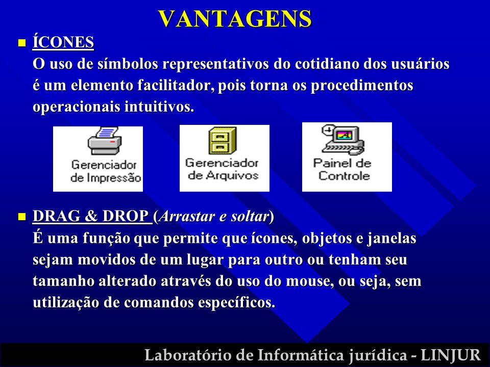 Laboratório de Informática jurídica - LINJUR VANTAGENS n ÍCONES O uso de símbolos representativos do cotidiano dos usuários é um elemento facilitador,