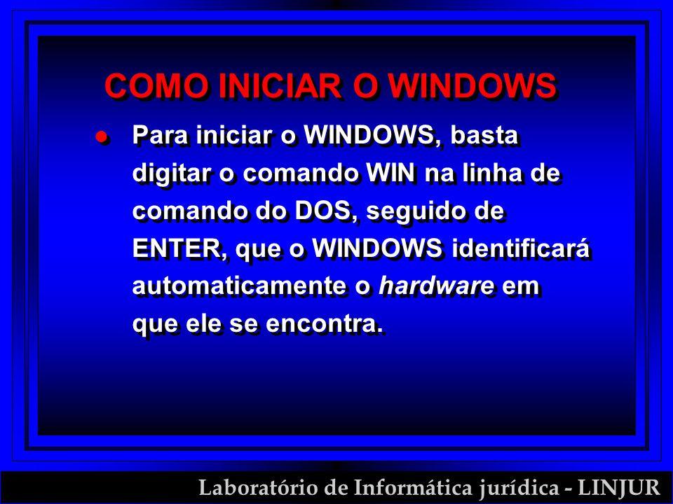 Laboratório de Informática jurídica - LINJUR COMO INICIAR O WINDOWS l Para iniciar o WINDOWS, basta digitar o comando WIN na linha de comando do DOS,