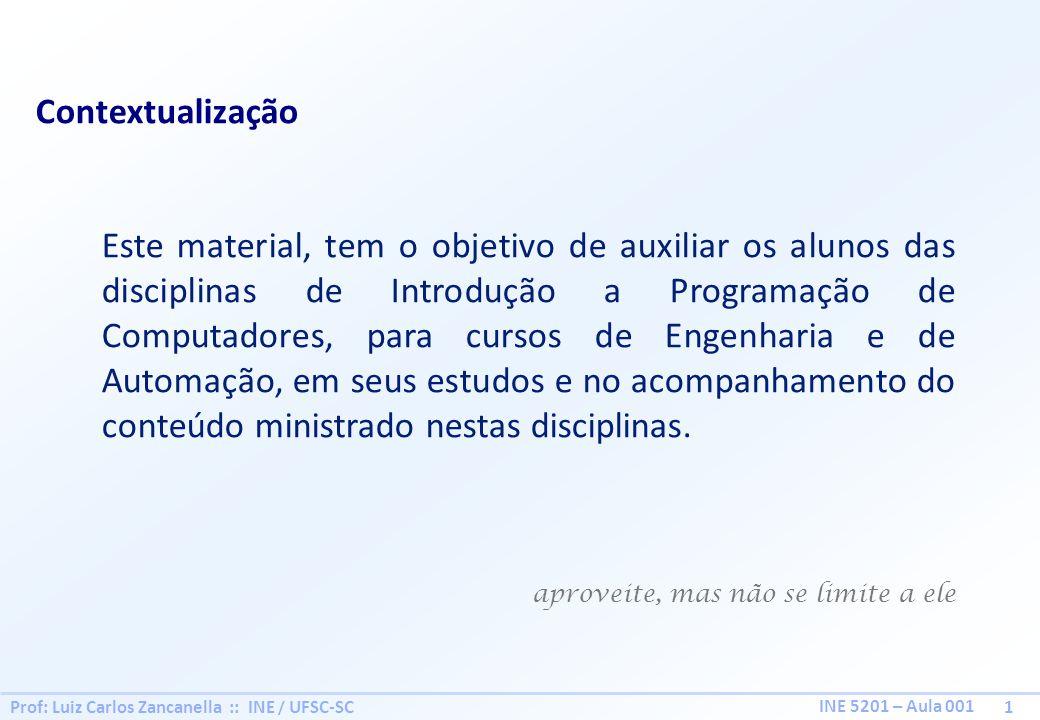 Prof: Luiz Carlos Zancanella :: INE / UFSC-SC 1 INE 5201 – Aula 001 Contextualização Este material, tem o objetivo de auxiliar os alunos das disciplin