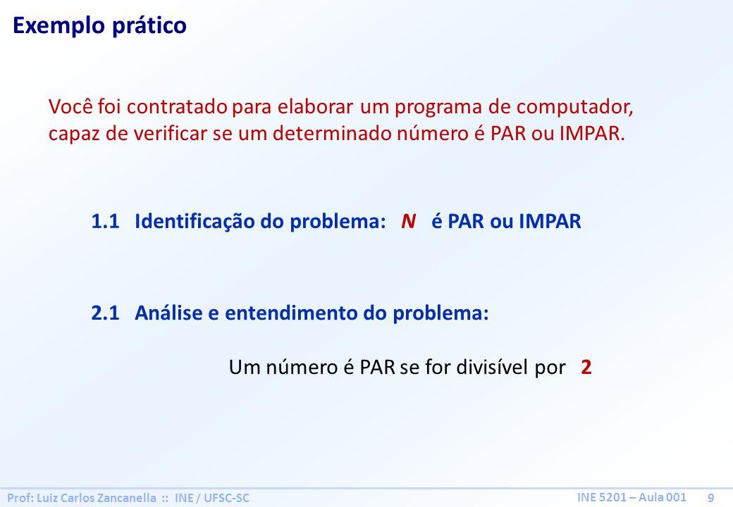 Prof: Luiz Carlos Zancanella :: INE / UFSC-SC 9 INE 5201 – Aula 001 Exemplo prático Você foi contratado para elaborar um programa de computador, capaz de verificar se um determinado número é PAR ou IMPAR.