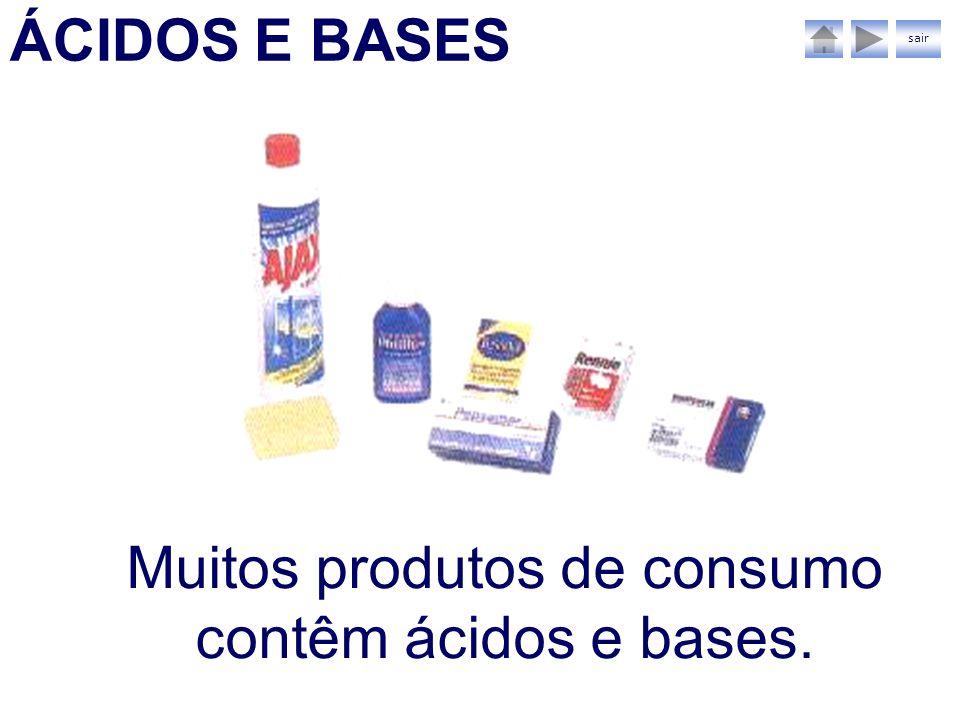 ÁCIDOS E BASES Muitos produtos de consumo contêm ácidos e bases. sair