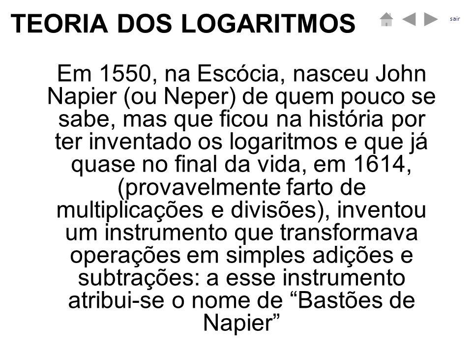 TEORIA DOS LOGARITMOS Em 1550, na Escócia, nasceu John Napier (ou Neper) de quem pouco se sabe, mas que ficou na história por ter inventado os logarit